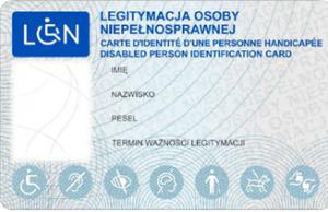 Wzór legitymacji osoby niepełnosprawnej